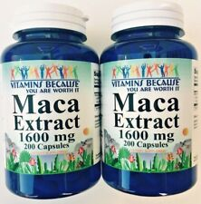 Lot Of 2 Maca Root Extract 1600 mg / 400 Capsules - Sexual Intimacy Enhancer