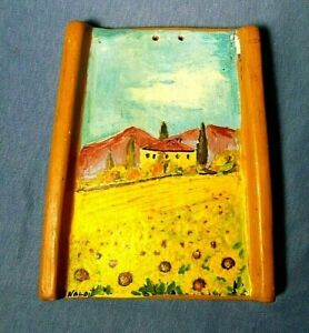 Hanging Terra Cotta Hand Painted Wall Tile Plaque Country Scene