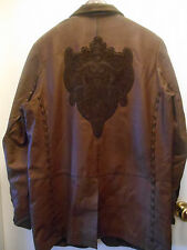 J & Company Mens Jacket Brown Leather Suede  Embroidery Whipstitched Rocker Sz L