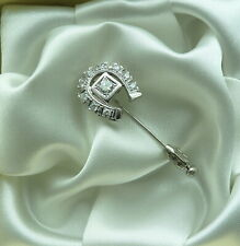 VINTAGE 14K WHITE GOLD DIAMOND HORSESHOE STICK PIN