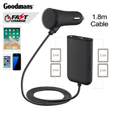 4 Port USB Passenger Car Charger 1.8 Cable Tablet Back Smartphone 3.4a 2.4a dual