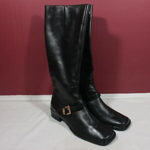 Etienne Aigner Leather Riding Boots 9.5M IDAHO sexy Calf High zip up