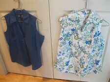 Lot of 2 NWT's Womens Sz Small Sleeveless Button Front Blouse Tops