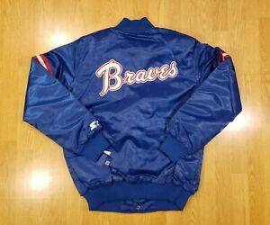 Vintage Atlanta Braves Satin Starter Jacket Hank Aaron Mens Size Medium