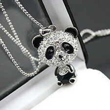 Women Cute Bling Panda Pendant Necklace Long Sweater Chain Jewelry