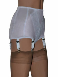 White Panty Girdle with Suspenders. Retro Style Control Panty 6 Suspender Straps