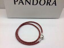 "Pandora "" Double Red Tan Leather ""Bracelet S925  38CM/14.9inches"" Barrel Clasp"