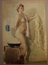 Russian Ukrainian USSR Watercolor Painting girl nude figure portrait bath 1950