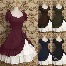 Vintage Ruffles Gothic Costumes Medieval Cosplay Women Bow Party Lolita Dress