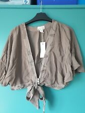GHOST Wrap Top Blouse Shrug Size M Bnwt khaki Grey