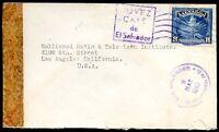 EL SALVADOR TO USA Censored Cover 1943 - VG