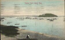 Onset Cape Cod MA Wickets Island Harbor & Woman on Beach c1910 Postcard