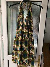 Ladies ASOS Brown Green Patterned Halter-neck Dress size 18