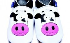 Inch Blue Baby Shoes - Cow Design (0-6 months)