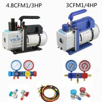 R410A R134A R22 Vacuum Pump HVAC A/C Refrigerant W /4 VALVE MANIFOLD GAUGE+Bag B