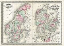 MAP ANTIQUE JOHNSON 1870 SWEDEN DENMARK OLD LARGE REPLICA POSTER PRINT PAM0962