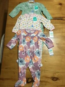 carters baby girl 3-6 months pajamas lot of 3 new with tags