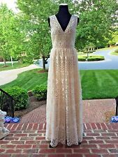 BASIX BLACK LABEL  All Over Lace Overlay Ivory  Gown Size 4 $795 NWT #07539L