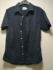 OnFire Navy Blue Geometric Spots Short Sleeve Cotton Shirt - Size M (339)