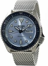 NEW Seiko 5 Sports 100M Automatic Men's Stainless Mesh Strap Watch Navy Blue