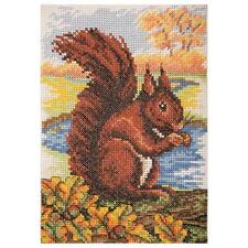 ANCHOR RED SQUIRREL COUNTED CROSS STITCH KIT AK137 SIZE 23CM X 16CM WOODLAND