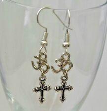 Silver Ohm Om Cross earrings-Faith Religion ethnic tribal bali zen drop earrings