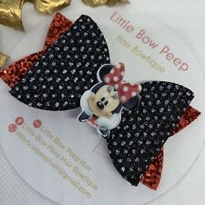 "🎀Handmade 3"" Minnie Mouse Black & Red Glitter Girls Hair Bow 🎀"