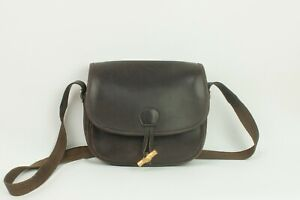 Vintage Hermes Paris Duffle Shoulder Leather Bag Brown