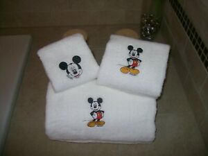 Embroidered Personalized  Mickey Mouse 3 Piece Towel Set-Bath,Hand, Wash Cloth