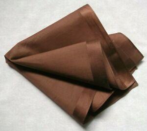 Mens Vintage Hankie Handkerchief Retro Pocket Square Chocolate Brown
