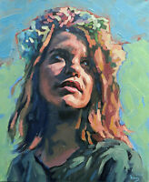 Teen Girl Female Portrait Sensual Summer Sun Young Face Oil Fine Art Painting