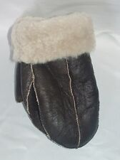NEW HANDMADE MENS Brown REAL SHEARLING SHEEPSKIN MITTENS MITTS GLOVES SIZE S-M
