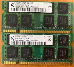 Qimonda 2GB (2x 1GB) DDR2 667MHz PC2-5300 Laptop RAM SODIMM HYS64T128021HDL-3S-B