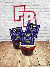 """Novelty """"Dirty Leeds"""" BLUE Football Stand Up Cake Topper Edible Wafer Birthday"""