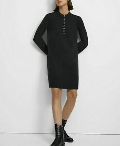 Theory- Henley Cashmere Sweater Dress in Charcoal size Medium