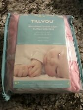 Tillyou Microfiber Double Layer Ruffled Crib Bed Skirt - Peachy Pink