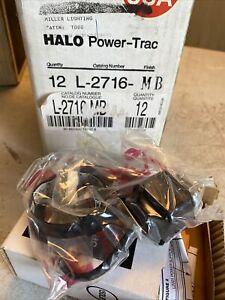Lot Of 12 Halo Power-trac L2716MB Black low voltage MR16 gimble ring 12 Volt