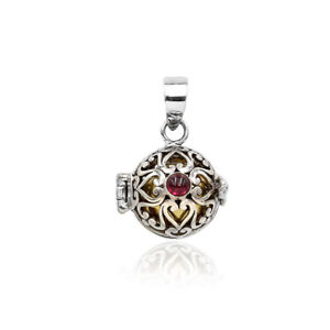 Bali Handmade Garnet Harmony Ball Chime Pendant Necklace in 925 Sterling Silver
