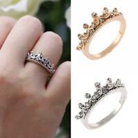Mode Prinzessin Frauen Rose Gold Silber Strass Krone Ring Zeigefinger Neu L O6F1