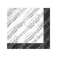 Music Notes Napkins - Lunch/Dinner Size - Lot of 12 Packs (20/Pack) - Birthday
