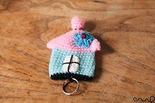 Handmade Crochet House Keyring Holder Fob Amigurumi Key Cover Gift Pink Blue D1