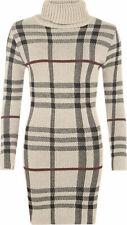 Bur Womens Ladies Polo Neck Tartan Knitted Long Sleeve Bodycon Jumper berry chec