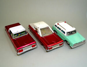 3 Vintage China Friction Tin Toy Car MF 181, MF 217 and Unknown with Paper Label
