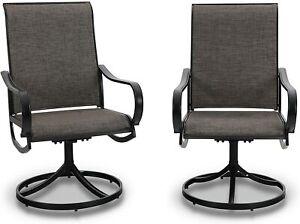 Patio Chair Set of 2 Metal Garden Rocker Swivel Chair Outdoor Furniture Black