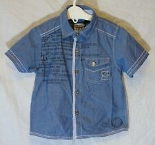 Baby Boys Next Slate Blue Nautical Theme Short Sleeve Shirt Age 12-18 Months