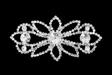 Diamante Motif Applique Rhinestone Sew on Wedding Silver Crystal Patch A135