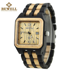 BEWELL Wooden Watches Men Square Black Relogio Masculino Casual Date Wood Watch