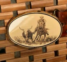 Belt Buckle Barlow Brass with Scrimshaw - Cowboy chasing a steer - with belt