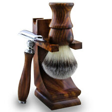 Clean Shave Lather Shaving Set Synthetic Brush with Wood Stand, Dual Edge Razor