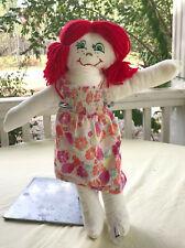"Homemade Cloth Doll, 17"" white doll, red hair, fruity sundress"